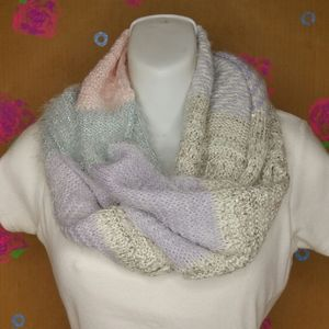 Icing Infinity Scarf Pink Lavender White Silver